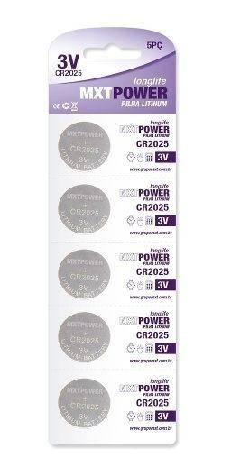 5 Baterias Pilha Cr2025 Bateria Relógio Balança Controle