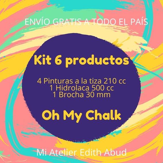Kit Oh My Chalk - 4 Pinturas + 1 Block + 1 Laca + 1 Brocha