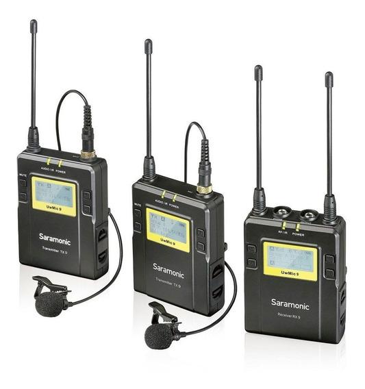 Microfone De Lapela Duplo Sem Fio Wireless Saramonic Uwmic9