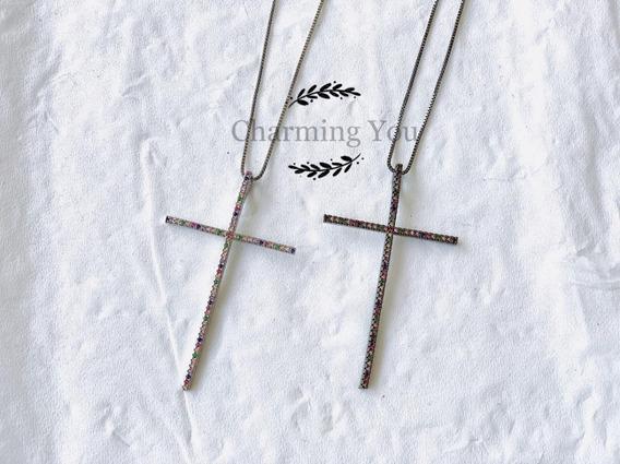 Colar De Crucifixo Ouro Folheado Microzirconia