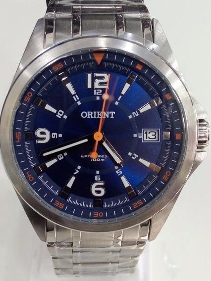 Relogio Masculino Orient Aço Prata Com Azul Mbss1270 D2sx