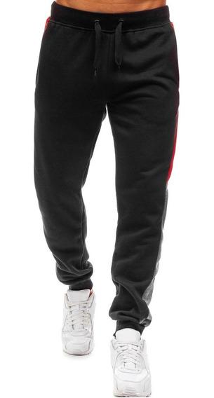Pantalones Basculador Casual Paneles Lado Largo