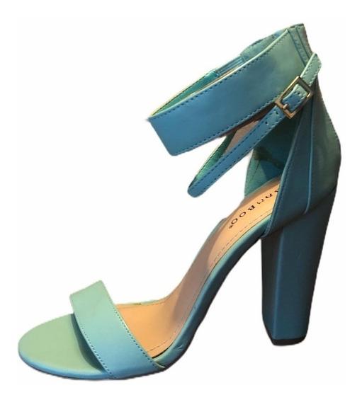 Zapatos De Taco Eco Cuero Verde Agua Tobillera 7 Usa