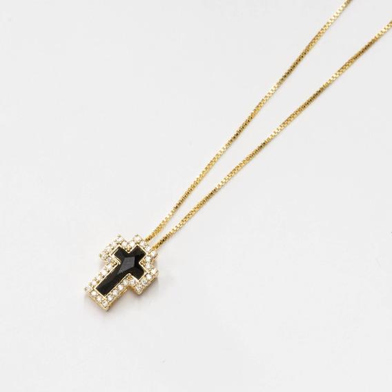 Colar Banhado Ouro Cruz Delicada Zircônia Com Microzircônias