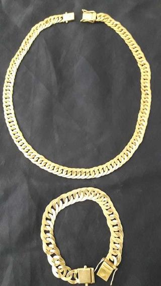 Cordão E Pulseira De Prata, Banhado A Ouro 18