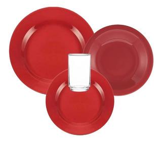 Juego De Vajilla Completo Rojo 24 Piezas Cerámica Biona Platos Playos Hondos De Postre Vasos Set Para 6 Apto Microondas