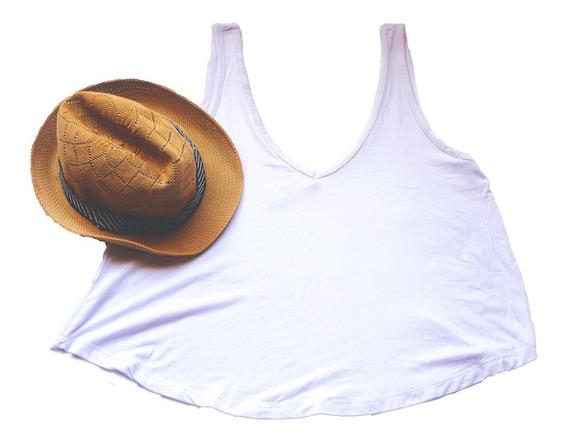 Remera Musculosa Blanca Básica Amplia Oversize