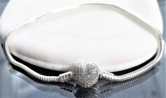 Pulseira Flexível Prata 925 Estilo Pandora Coração Brilho