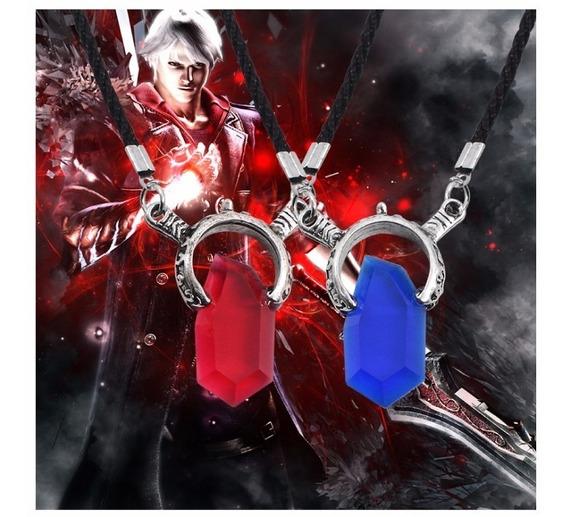 Cordão Colar Devil May Cry Dmc Dante Vergil Vermelho Azul