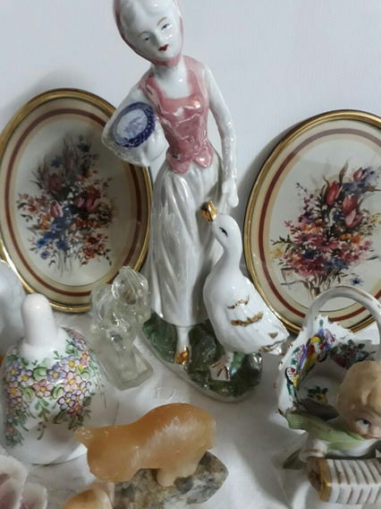 Figura Dama Con Ganso Ceramica Y Mas Adornos. Caja E