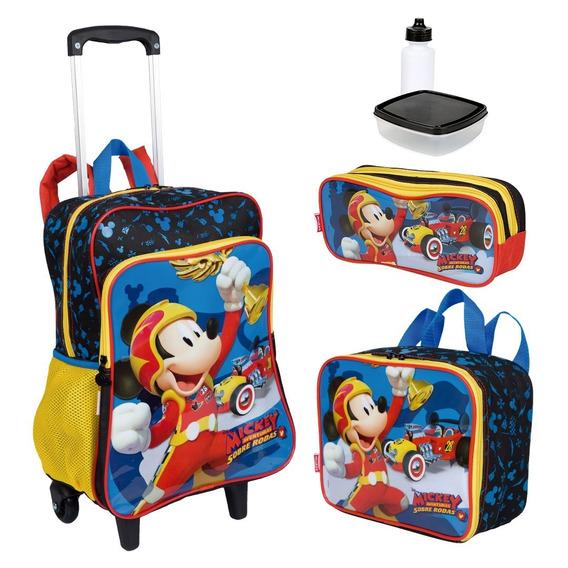 Kit Mochila Infantil Mickey 19m Plus Lancheira Estojo Sestin