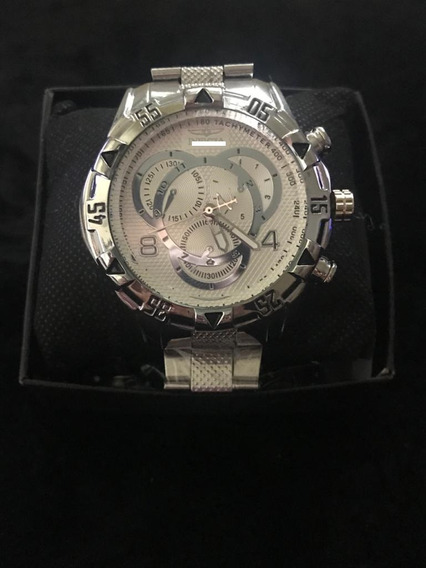 Relógio Masculino Robusto Prata Aço Inox Lançamento Luxo Top