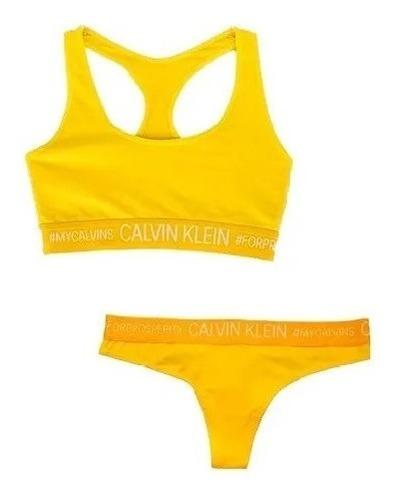 Imagem 1 de 7 de Conjunto Calcinha Fio Dental E Top Calvin Klein Original
