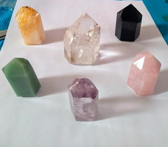 Kit 3 Pontas 5 Cm Quartzo Cristal Verde Rosa Gerador Energia