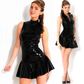 Gótico Vestido Faux Patente Cuero Alto Escote