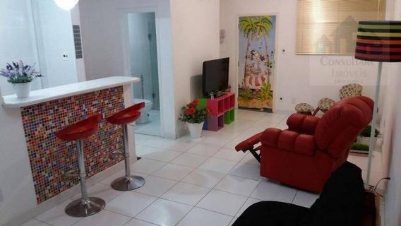 Kitnet Com 1 Dormitório Para Alugar, 40 M² Por R$ 1.500,00/mês - Aparecida - Santos/sp - Kn0582