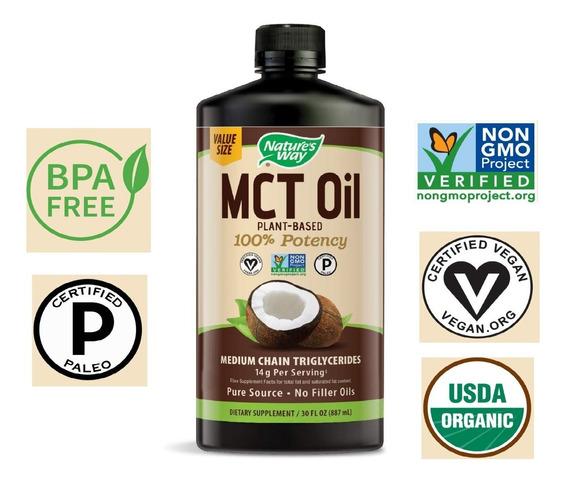 Aceite Mct Oil 100% Puro De Cocos Organico Importado 887ml