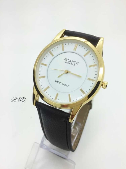 Relógio Atlantis Social Branco Pulseira De Couro Classico