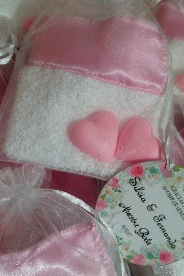Souvenirs Casamiento Toalla + 2 Jabones/perfumeros + Tarjeta