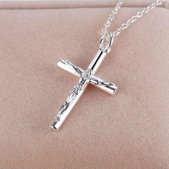 Colar Cordao Corrente Unissex Aço Inox Cruz Crucifixo Prata