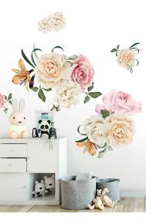 Vinil Decorativo Flores Rosas Acuarela Stickers Gigantes