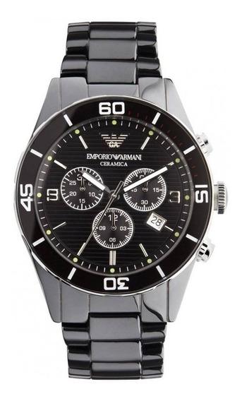 Relógio Emporio Armani Ar1421 Ceramica Chronograph Black Dia