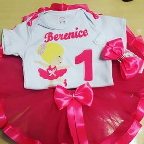 2c5676f4cc Tutu De Bailarina Para Bebe Menina - Bodies Curta Rosa chiclete de ...