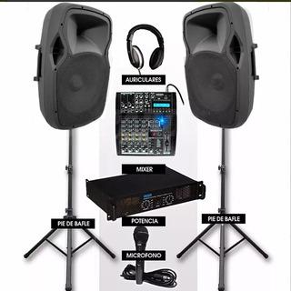 Sonido Premium Para Dj Consola-bafles-potencia-mic