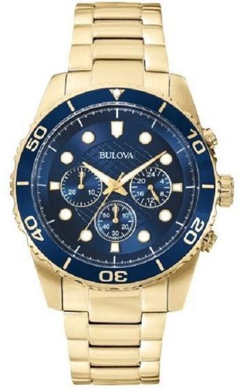 Relógio Bulova Masculino Wb31989z Dourado Azul Oferta