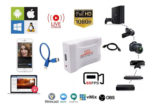 Capturadora Hdmi Usb 2.0 Video Audio Laptop Pc Deco Obs Face