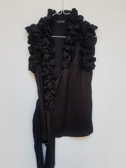 Camisa Mujer Ona Saez Tipo Seda Negra De Fiesta