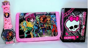 Kit Colônia Monster High Skullette 25ml + Relógio + Carteira