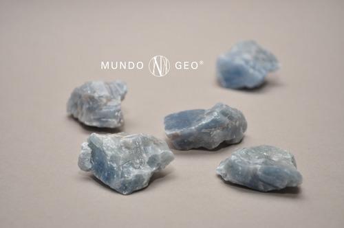 Piedra Mineral Calcita Azul Mediana En Bruto