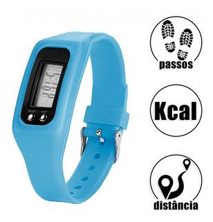 Relógio Digital Contador De Passos Caloria E Distancia Azul