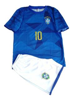 Conjunto Infantil Seleção Brasileira Neymar Azul