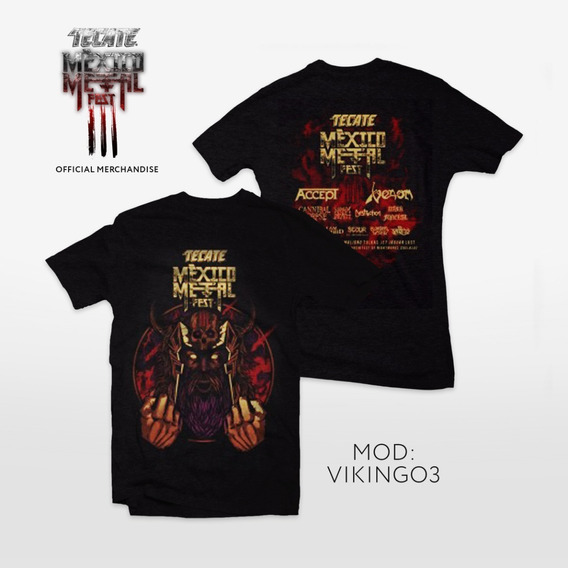 Playera Vikingo Metal 3, Con Line Up Espalda