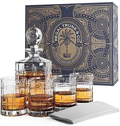 Imagen 1 de 7 de Regal Tronco Whisky Decantador Set En Una Caja De Regalo