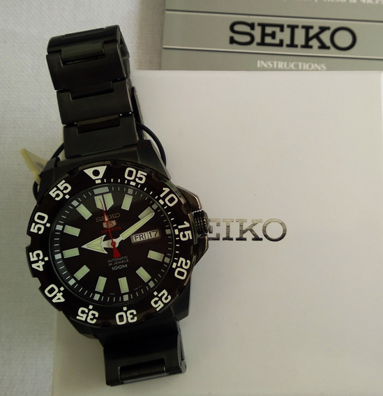 Relogio Seiko Automatico Preto Original 44mm Maravilhoso