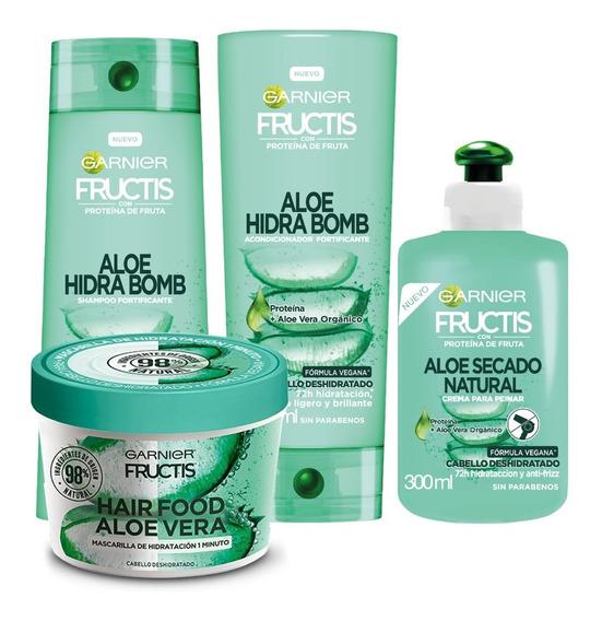 Pack Rutina Aloe Hidra Bomb Fructis Garnier 4 Unidades