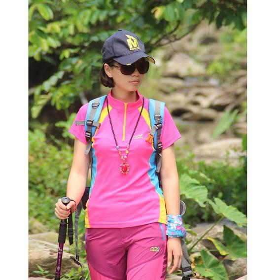 Mujeres Excursionismo Tops Montaña Al Aire Libre Deportes T