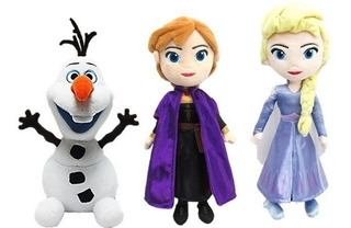 Muñecos Pelcuhe Frozen 2 Con Sonido 20 Cm Elsa Anna Olaf