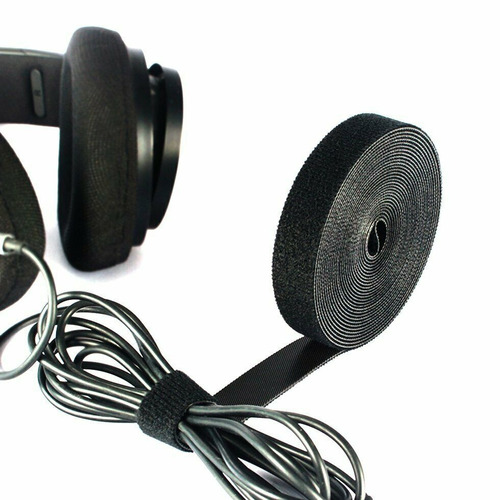 Rollo Velcro Ordenador Cables 5m X 1cm Negro