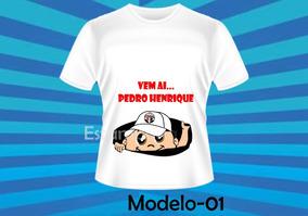 Camiseta Gestante Bebê Espiando Personalizada Menino