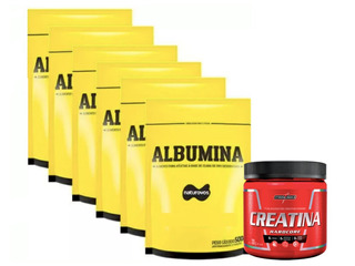6x Albumina 500g Natural Naturovos + Creatina 300g Integral