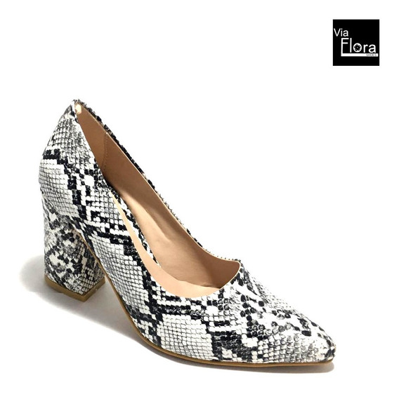 Zapato De Mujer Clasico Taco Alto Reptil Croco (75/846)