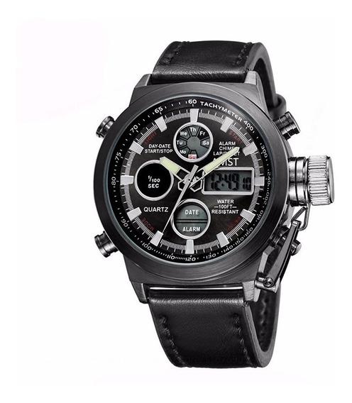 Relógio Masculino Amst Black Couro Luxuoso Super Promoção