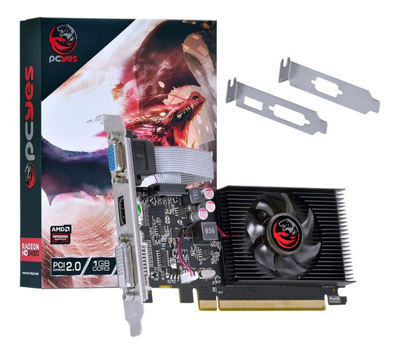 Placa De Vídeo Pcyes Amd Radeon Hd 5450 1gb 64bits Ddr3 Dx11