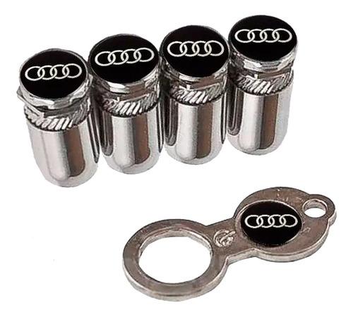 Imagem 1 de 3 de Bico De Válvula Cromado Tampa Antifurto Pneu Audi