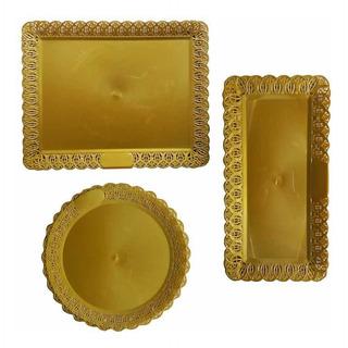 Kit Bandeja Rendada Dourada 3 Peças
