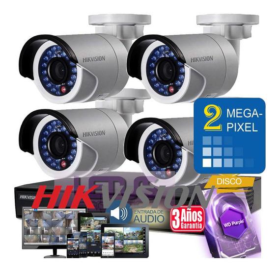 Kit Seguridad Hikvision Dvr 8 + 4 Camaras 1080p 2mp + Disco